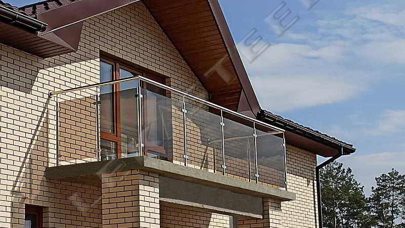 балкон, перила, нержавійка скло, балкон з нержавійки